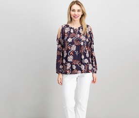 Style & Co Printed Cold-Shoulder Peasant Top, Floral Grape