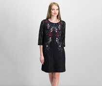 Charter Club Embroidered Lace Dress, Deep Black