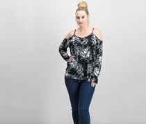 Women Cold-Shoulder Top, Etched Flower