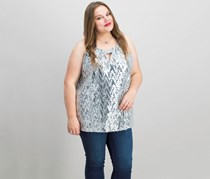 INC International Concepts Plus Size Chevron-Sequined Top, Silver