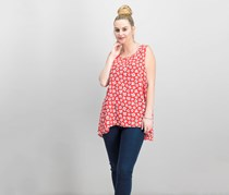 Anne Klein Printed High-Low Top, Tomato Parchment Combo