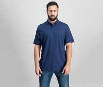 Mens Scroll-Print Supima Polo, Navy Blue