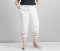Style & Co Embroidered Cropped Cargo Pants, Bright White