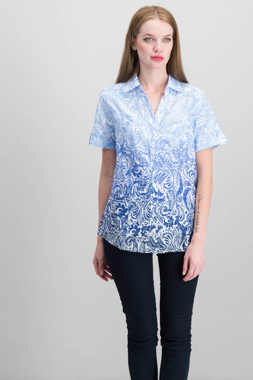 Cotton Ombre-Print Shirt, Intrepid Blue Combo
