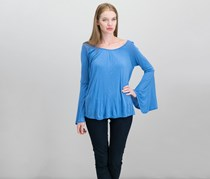 Style & Co. Womens Gathered Long Sleeves Pullover Top, Blue