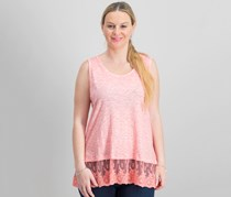 Style Co Embroidered-Hem Tank Top, Icy Pink