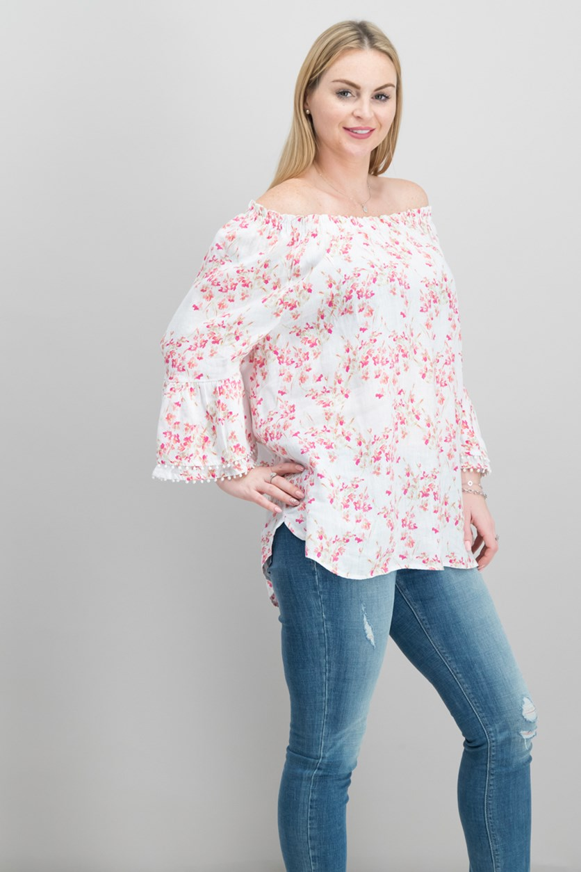 Linen Bell-Sleeve Top, Bright White Combo