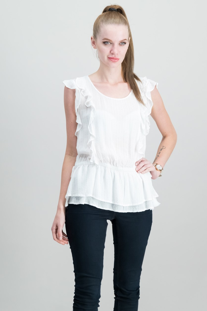 Style Co Metallic Ruffled Top, Bright White
