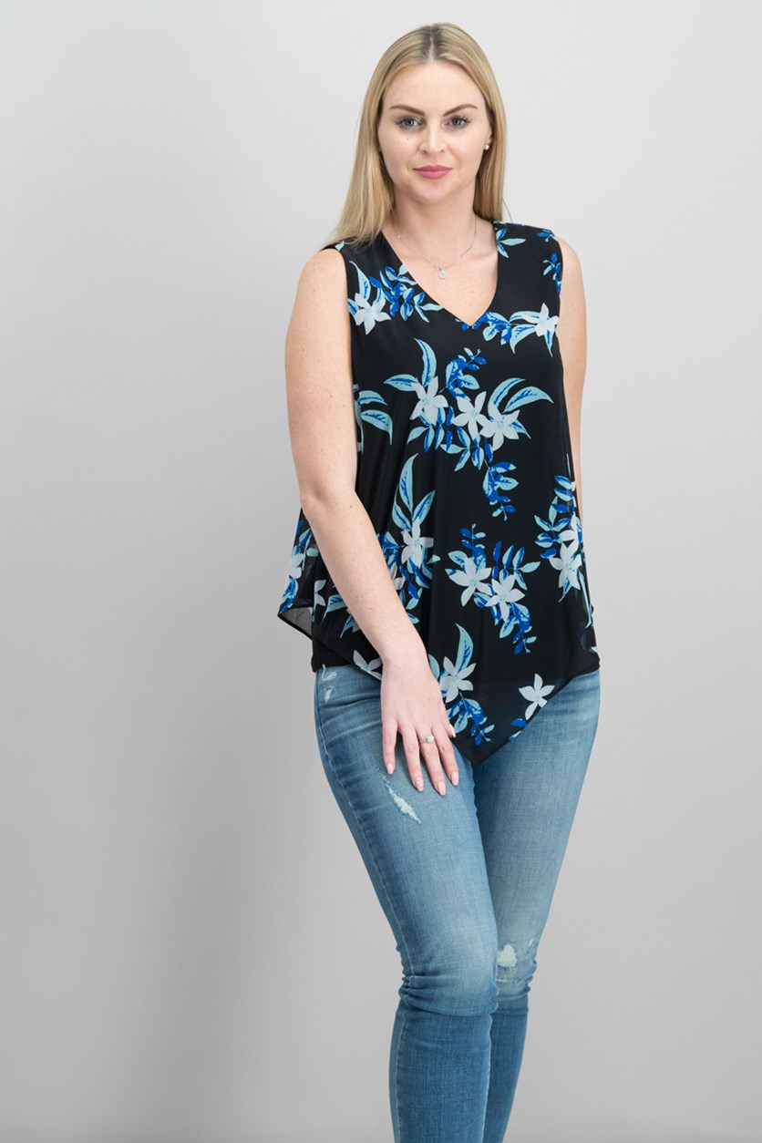 Petite Printed Sleeveless Overlay Top, Black Botanical Cluster