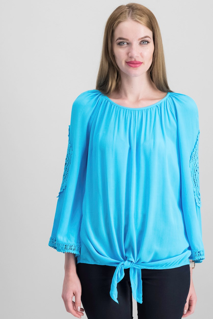 Petite Crochet-Trim Tie-Front Top, Reef Aqua
