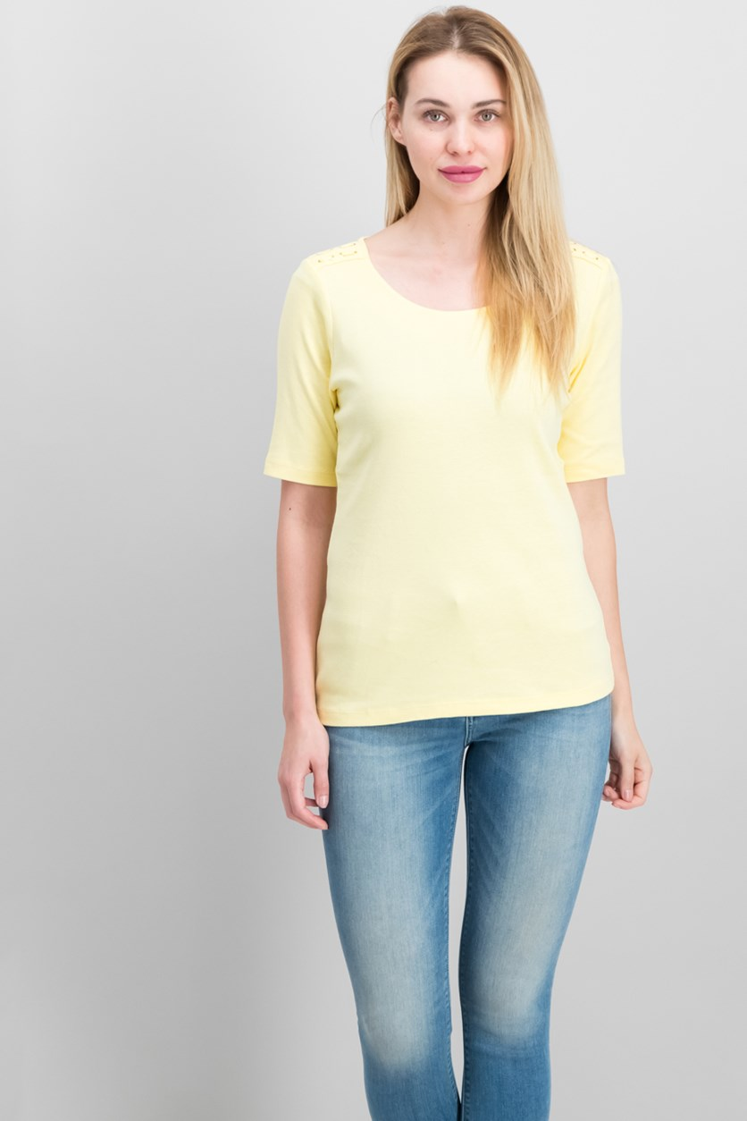 Cotton Laced-Shoulder T-Shirt, Lemon Sugar