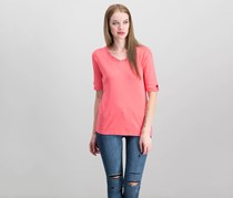 Karen Scott Cotton Embellished Cutout T-Shirt, Peony Coral