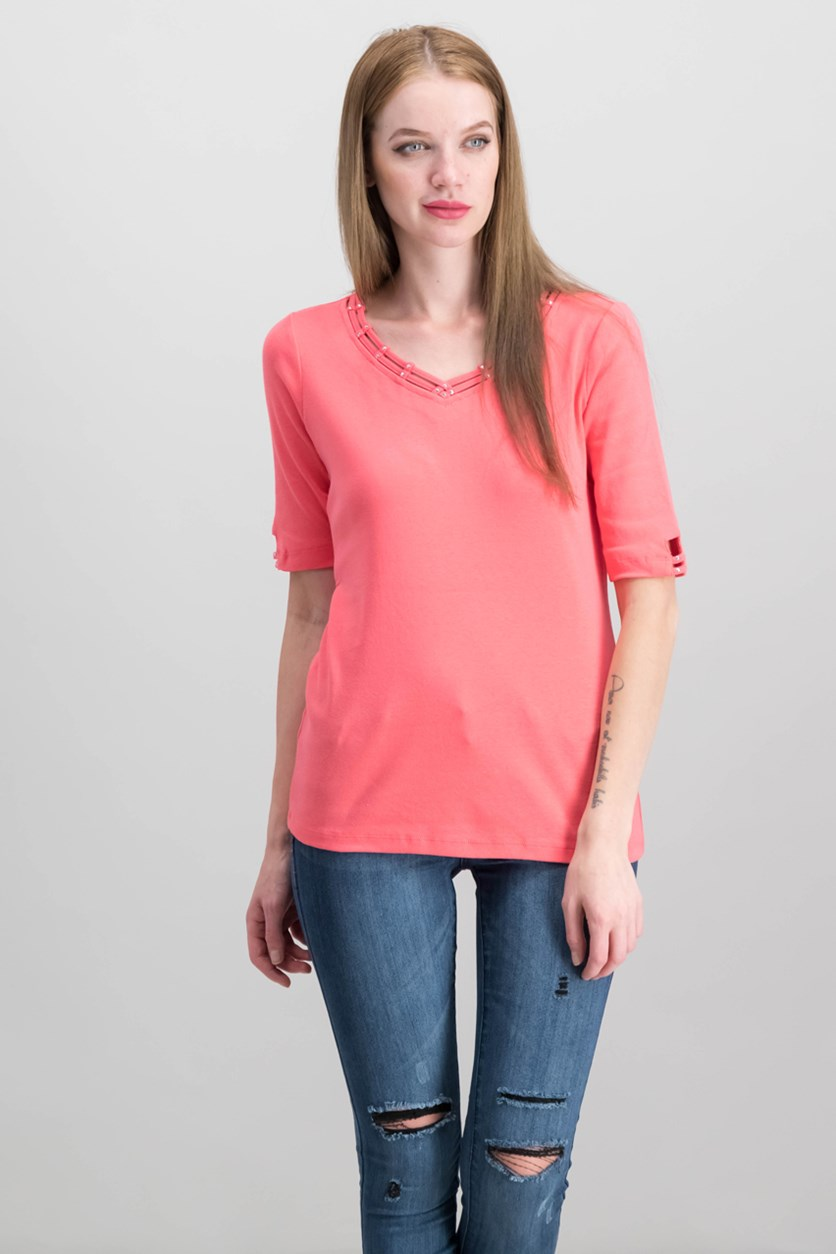 Cotton Embellished Cutout T-Shirt, Peony Coral
