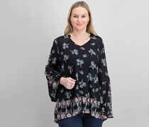 Style & Co. Women's Printed Bell Sleeves Blouse Top, Polish Wonder