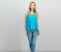 . Petite Button-Front Blouse, Lake Teal