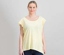 Style & Co Women's Eyelet Ruffle T-shirt, Yellow Breeze