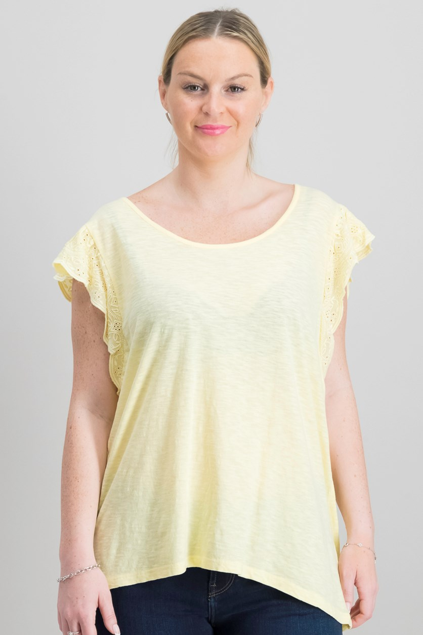 Women's Eyelet Ruffle T-shirt, Yellow Breeze