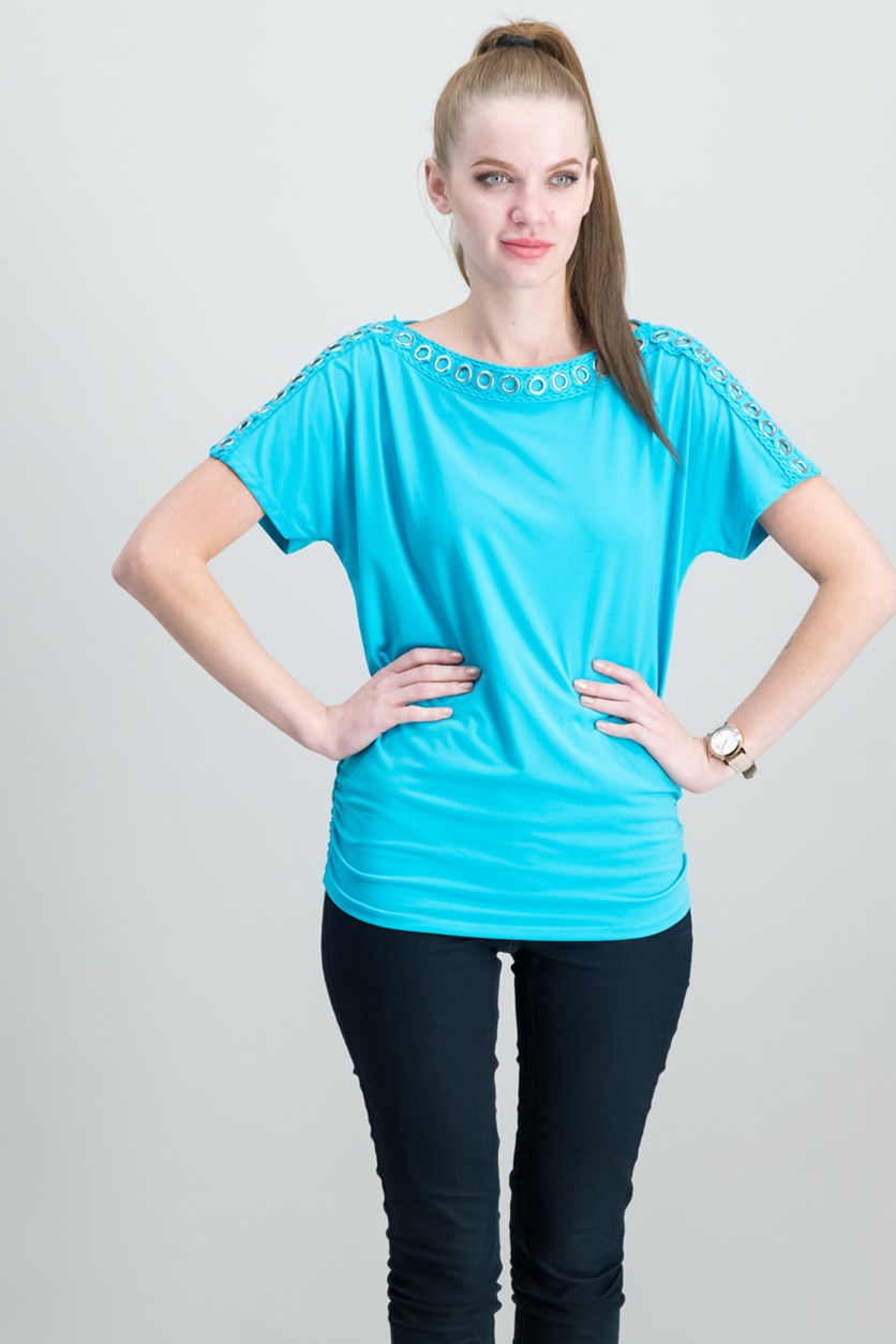 Grommet-Trim Ruched Top, Reef Aqua