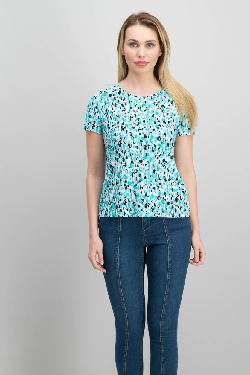 Petite Gel-Dot Jacquard Top, Aqua Dapple