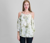 Women  Cold-Shoulder Top, Yellow Polished Floral/White