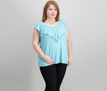 Women Plus Size Ruffled V-Neck Top, Pale Turquoise