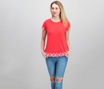 Charter Club Women's Petite Cotton Embroidered Top, Warm Spice