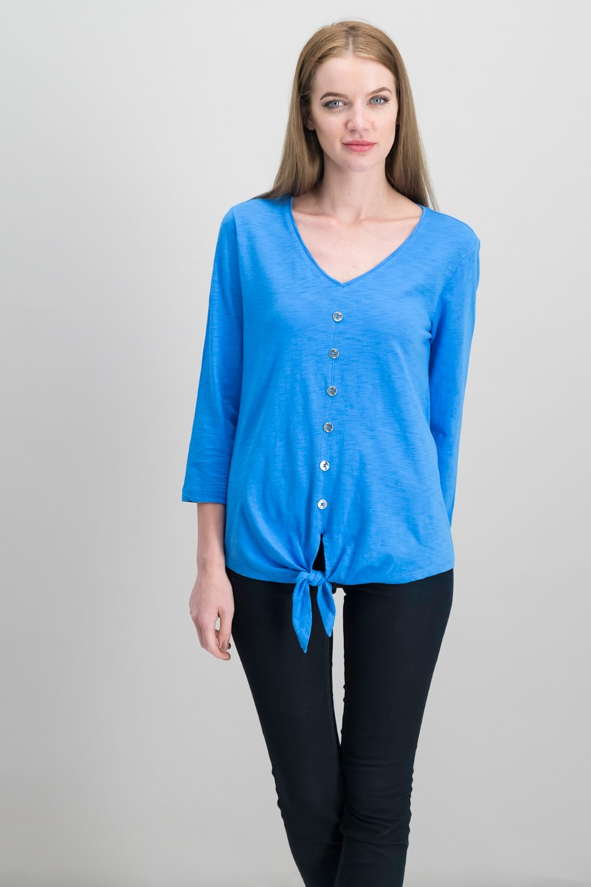 Cotton Tie-Front Shirt, Beach Blue