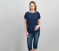 Jm Collection Grommet-Trim Ruched Top, Intrepid Blue