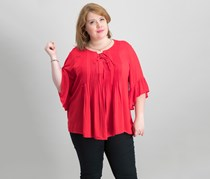 Women Plus Size Pintuck Ruffled-Sleeve Blouse, Real Red
