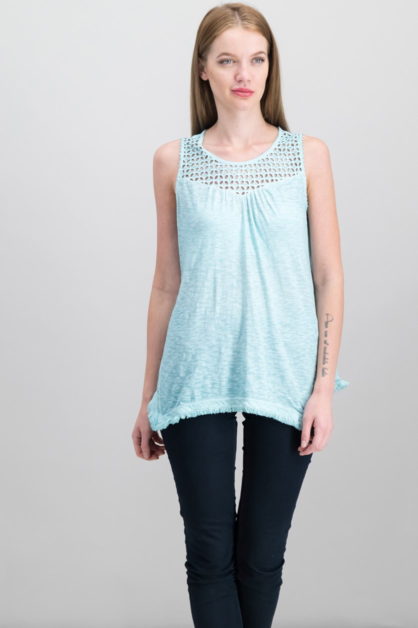 Cotton Lattice-Detail Sleeveless Top, Pale Turquoise