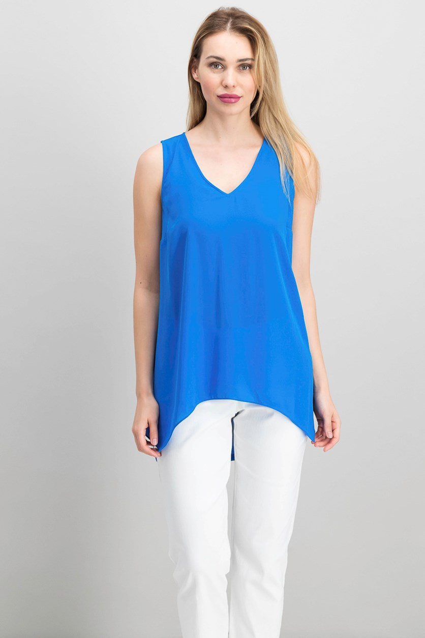 Women's Handkerchief-Hem Top, Caribe Blue