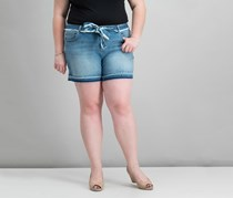 INC Curvy-Fit Belted Denim Shorts, Mid Indigo
