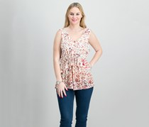 Style Co Floral-Print Peplum Top, Ivory/Blush Global