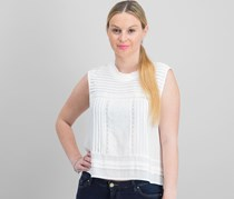 Faith & Zoe Women's Textured Top, White