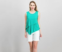 Alfani Petite Layered Asymmetrical Top, Canary Green
