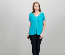 INC Women Studded Cold-Shoulder Top, Teal Glow