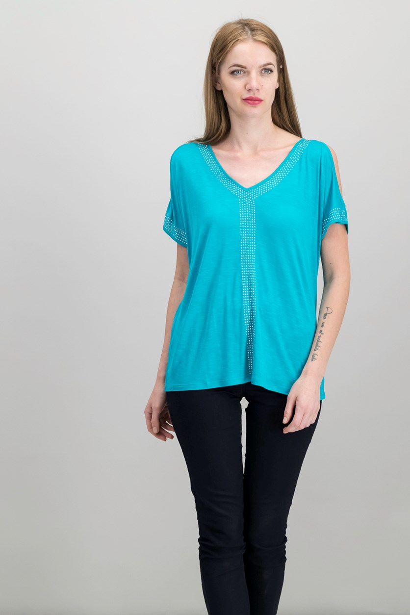 Women Studded Cold-Shoulder Top, Teal Glow