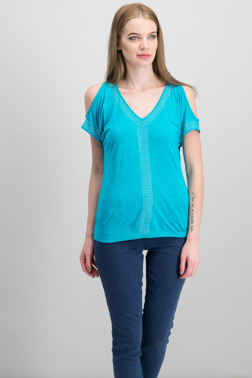 International Concepts Petite Embellished Cold-Shoulder Top, Teal Glow