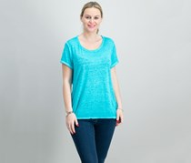 International Concepts Crew-Neck High-Low T-Shirt,  Teal Glow