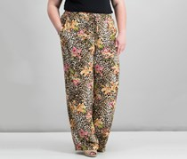 Women's Mixed-Print Pull-on Pants, Beige Combo