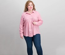 Style & Co Pocketed Roll-Tab Shirt, French Tulip