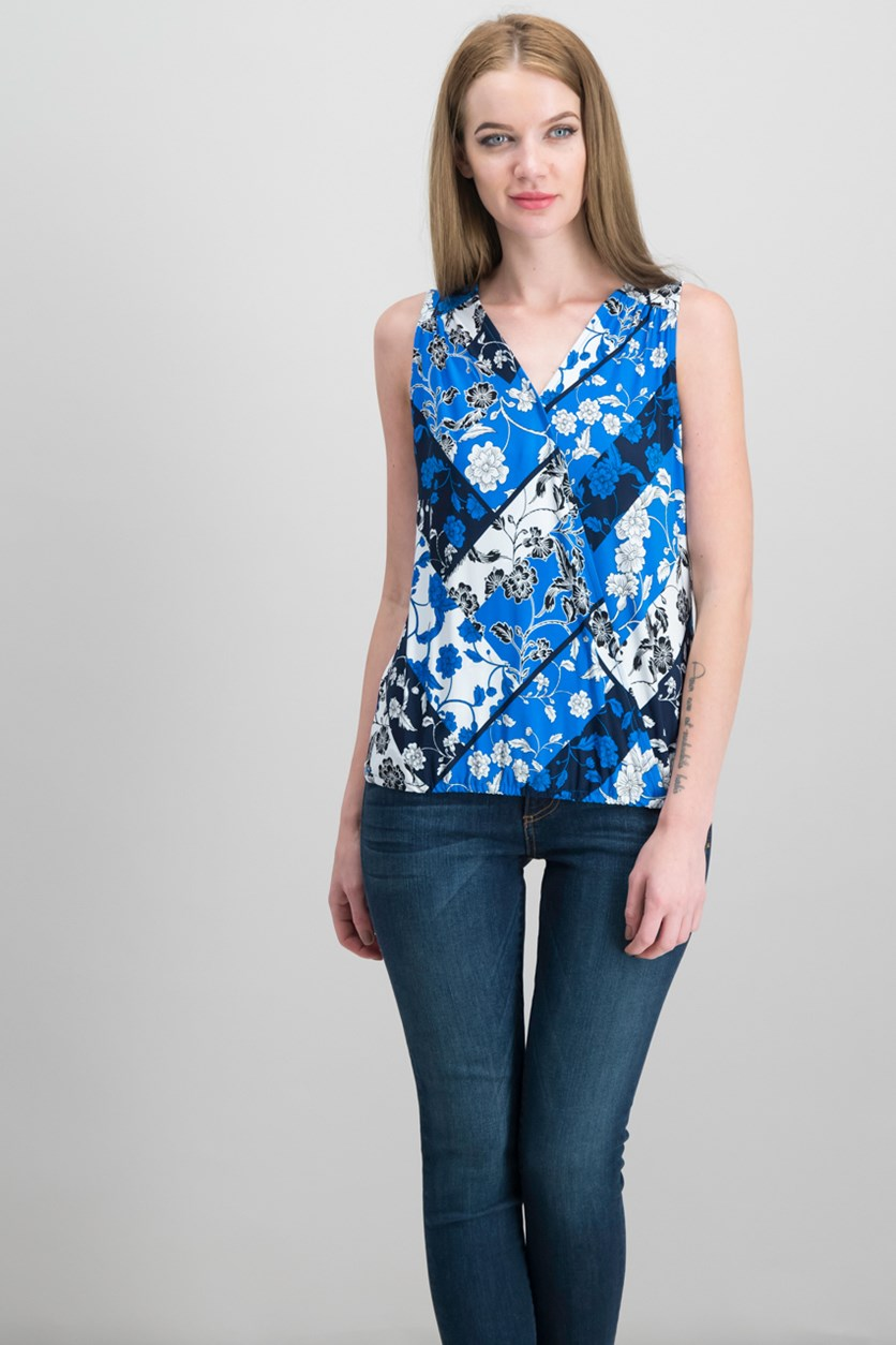 International Concepts Petite Surplice Tank Top, Spliced Floral