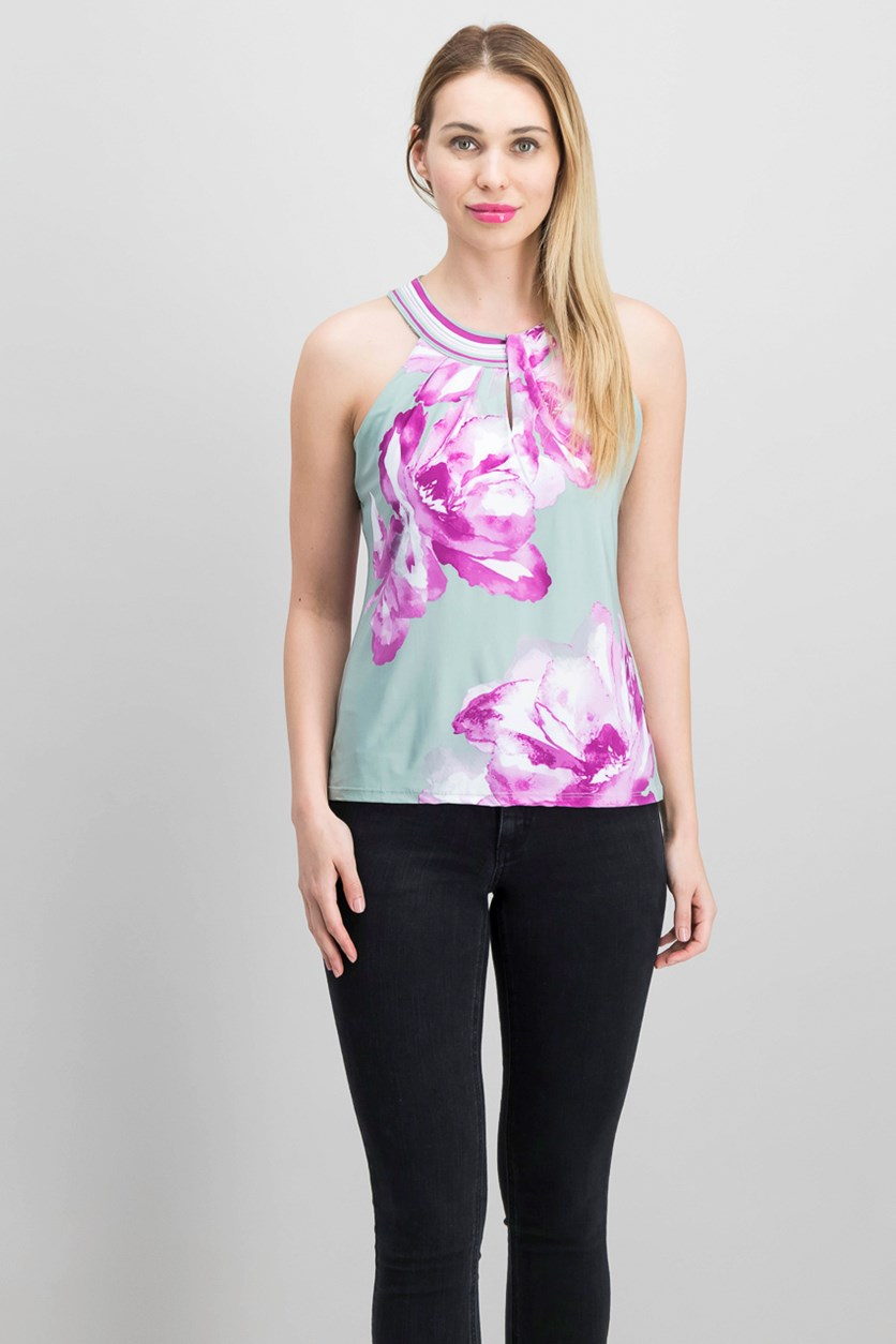 Petite Floral-Print Halter Top, Placed Peony