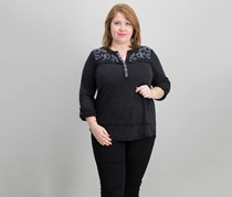 Style & Co Plus Size Cotton Embroidered Distressed Top, Deep Black