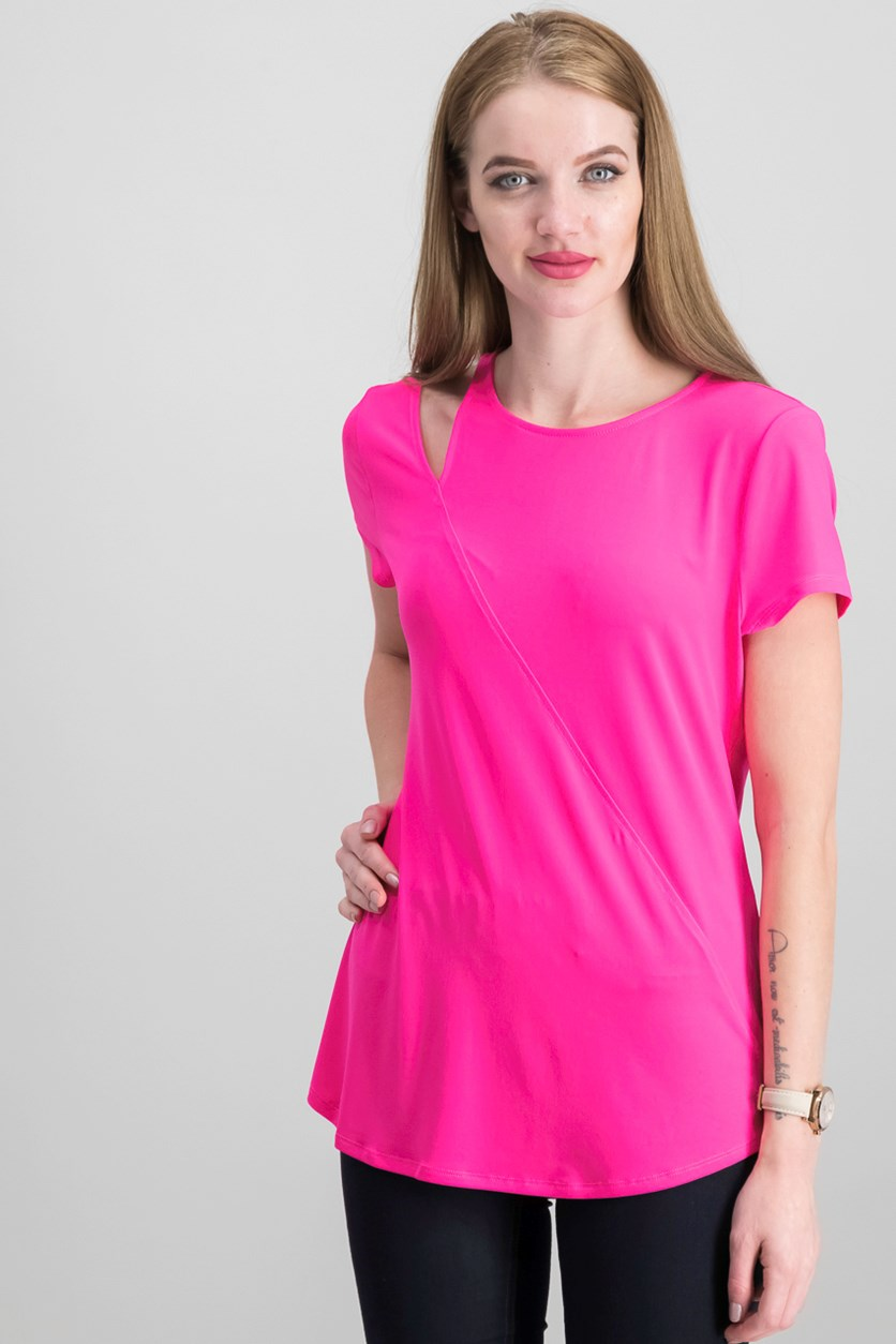 International Concepts Cutout-Shoulder T-Shirt, Intense Pink
