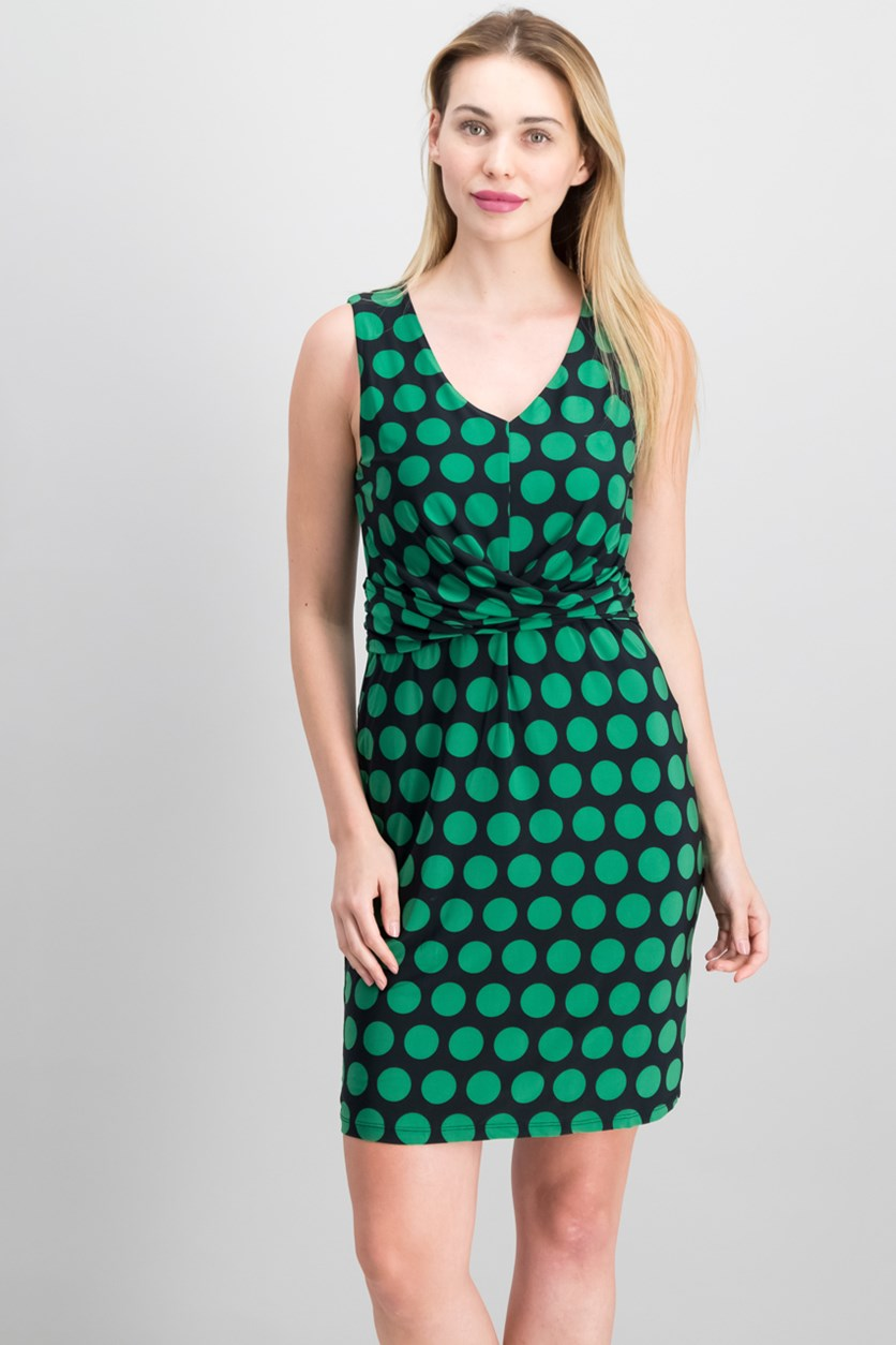 International Concepts V-Neck Dot-Print Dress, Emerald Bold Dot