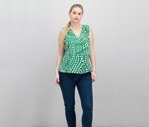 INC International Concepts Polka-Dot Surplice Top, Dotted Wave