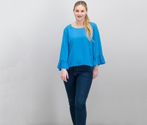 INC International Concepts Ruffle-Sleeve Top, Lyric Blue