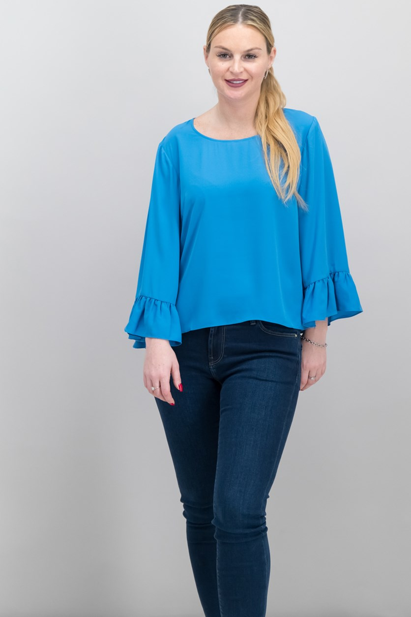 International Concepts Ruffle-Sleeve Top, Lyric Blue