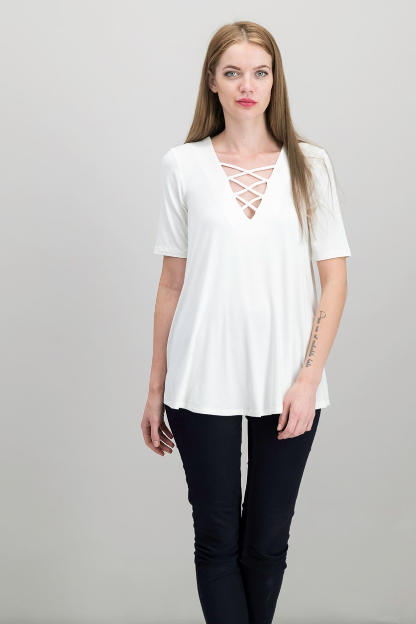 Crisscross Swing Top, Cream